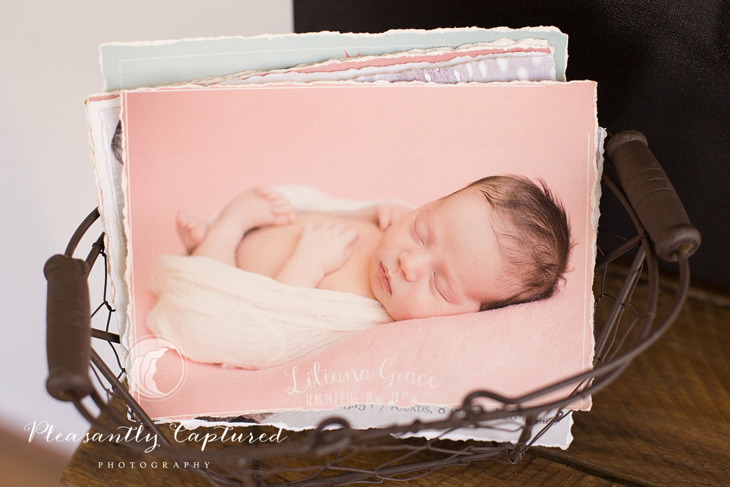 Sample birth annoucenments in the Pleasantly Captured Photography Studio Jacksonville NC Portrait Studio