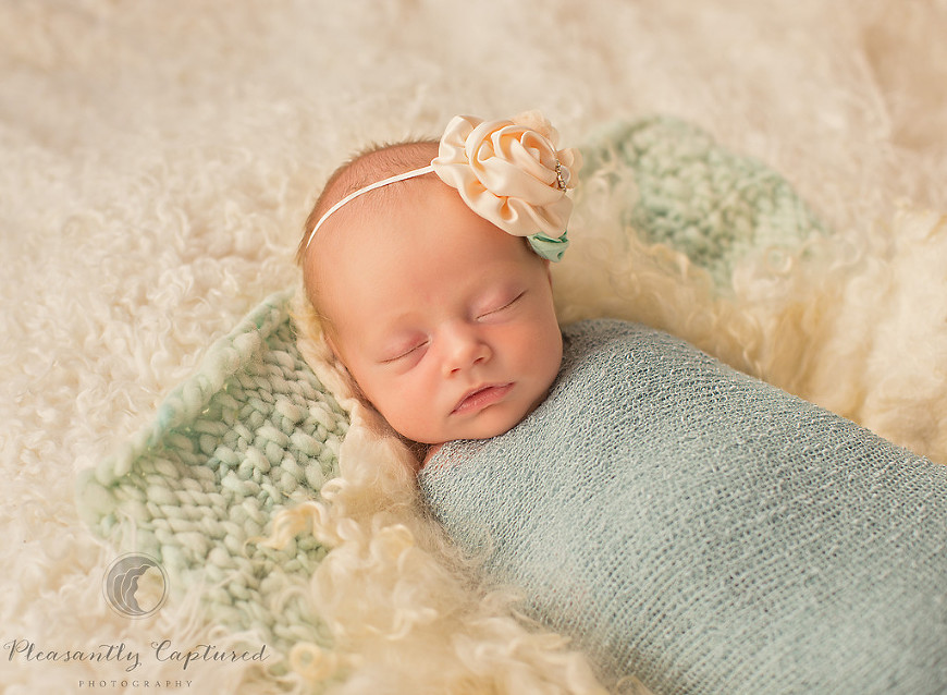 Beautiful newborn baby girl sleeps peacefully - Pleasantly Captured Photography - Newborn-Baby Photographer Jacksonville NC