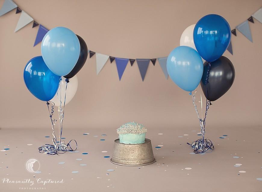 Blue, white and grey cake smash - Pleasantly Captured Photography - Baby Photographer Jacksonville NC