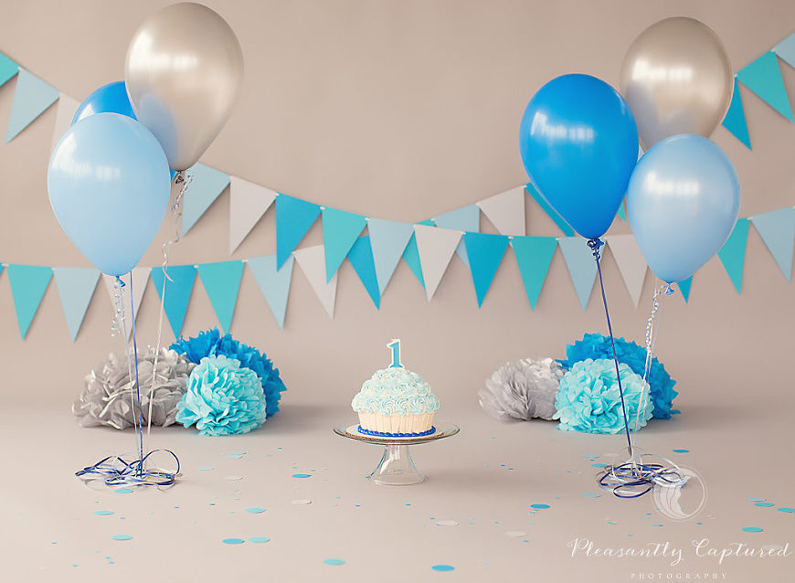 Custom cake smash session set-up by Pleasantly Captured Photography - Cake Smash Photography Jacksonville NC