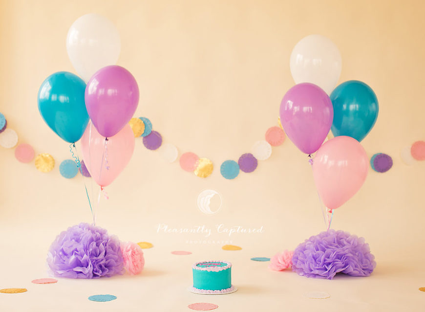 Pink, Purple, Turquoise custom cake smash session by Pleasantly Captured Photography - First Birthday Photography Jacksonville NC